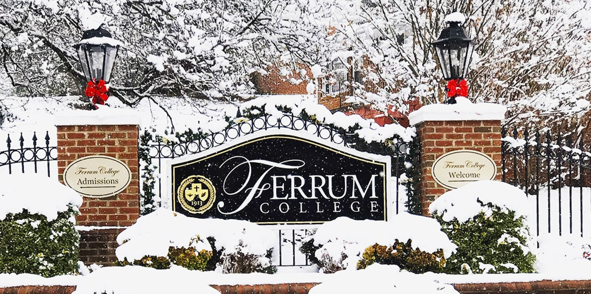 Ferrum College front gate photo by Taylor Woods '19