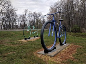 """Jake Smith's """"Big Ol' Bikes"""" were welcomed at the entrance to Mill Mountain Park on April 22."""