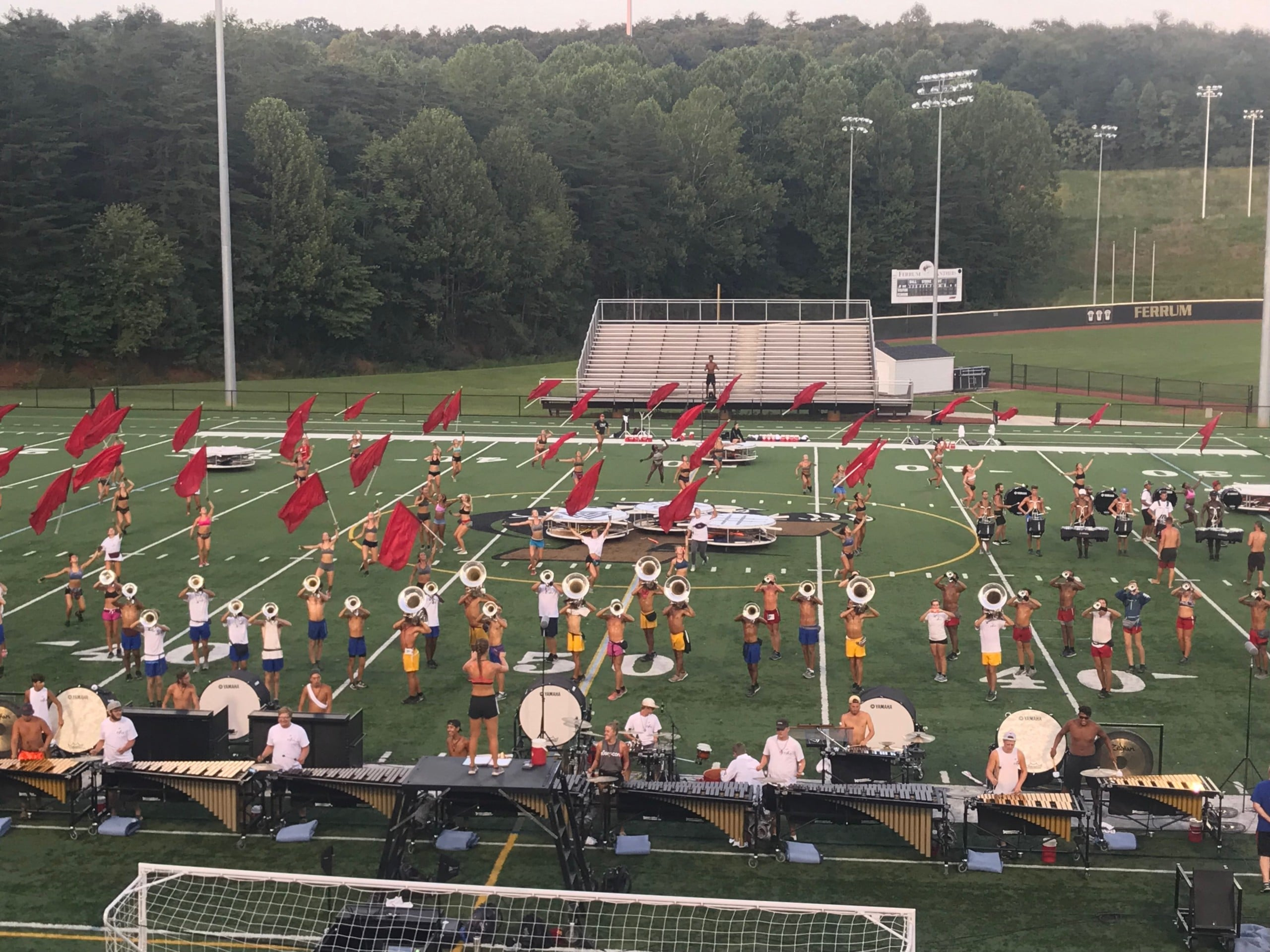 World Class Crossmen Drum and Bugle Corps rehearsed at Ferrum College's W.B. Adams stadium for Salem's July 30 Summer Music Games.