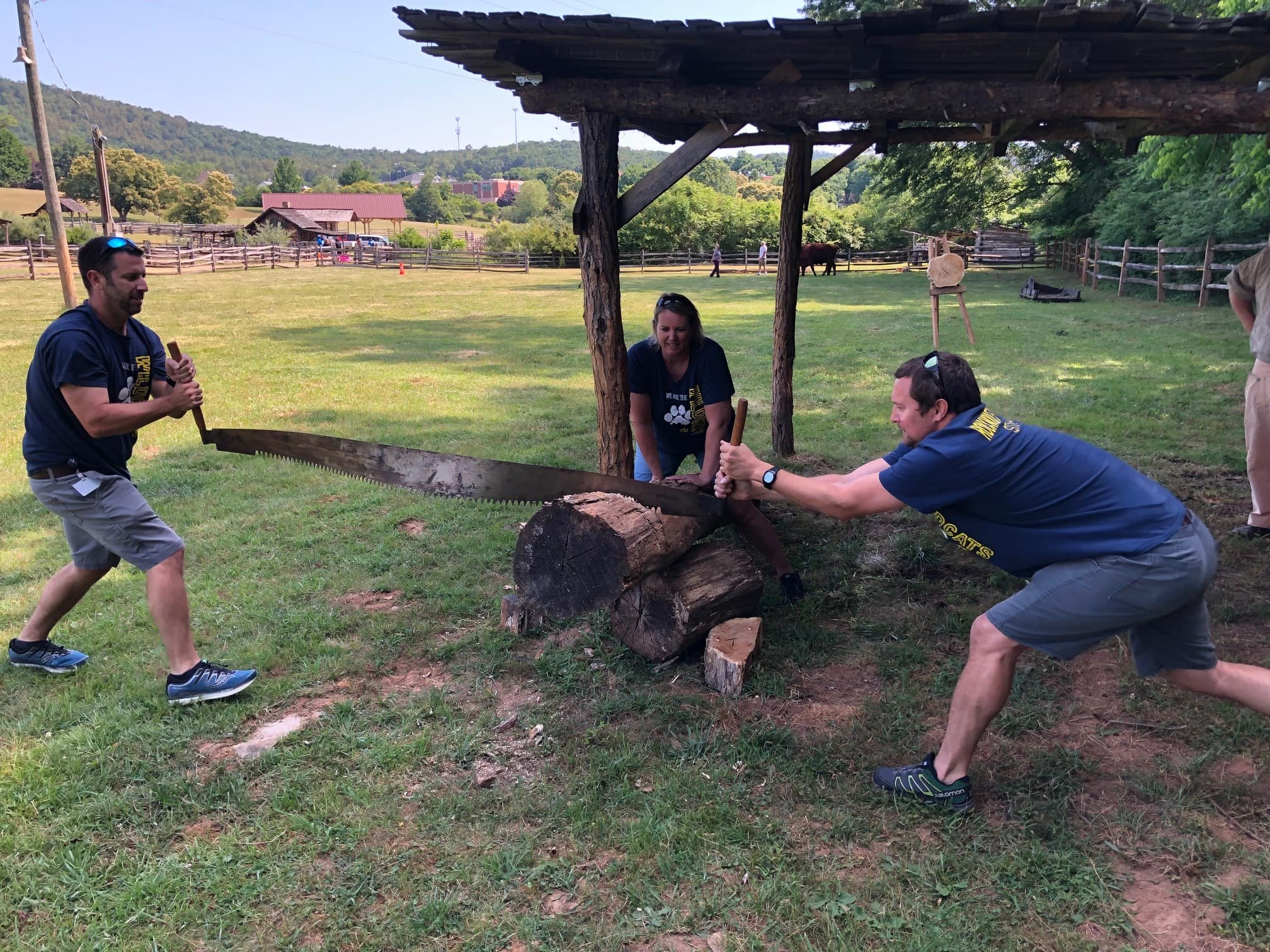 """Franklin County Schools' administrators and faculty held some of the """"Amazing Race"""" activities at the Blue Ridge Institute and Museum at Ferrum College in June and July."""