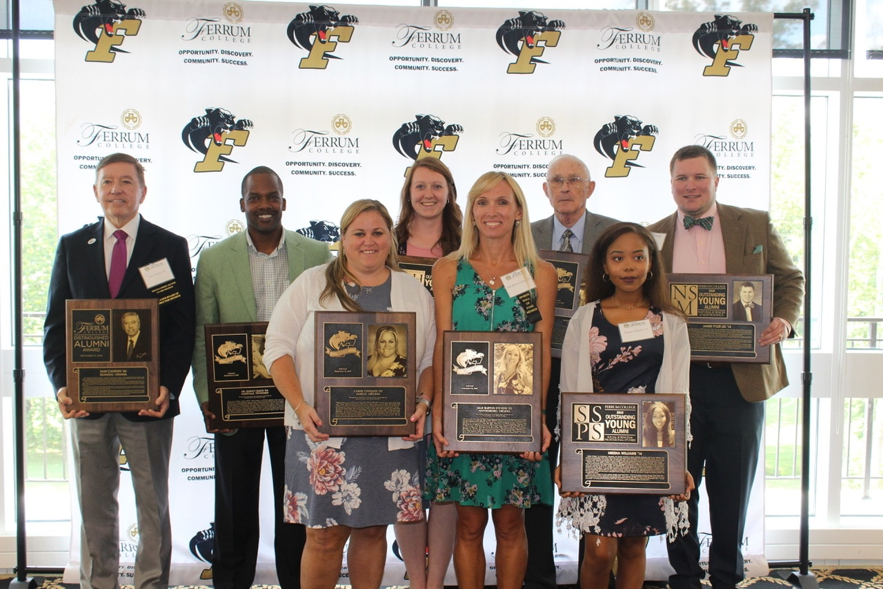 In an alumni awards ceremony held Saturday, September 21, 2019 in the Blue Ridge Mountain Room on campus, Ferrum College honored four alumni and inducted five more alumni into the Sports Hall of Fame.