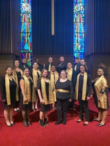 Members of the Ferrum College Chorale pose for a photo in Vaughn Chapel on campus.