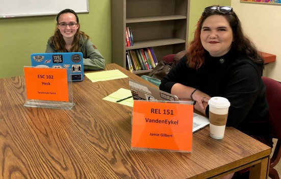 Savannah Farris and Jamie Gilbert are two of many PAL tutors available in the ARC to assist students.