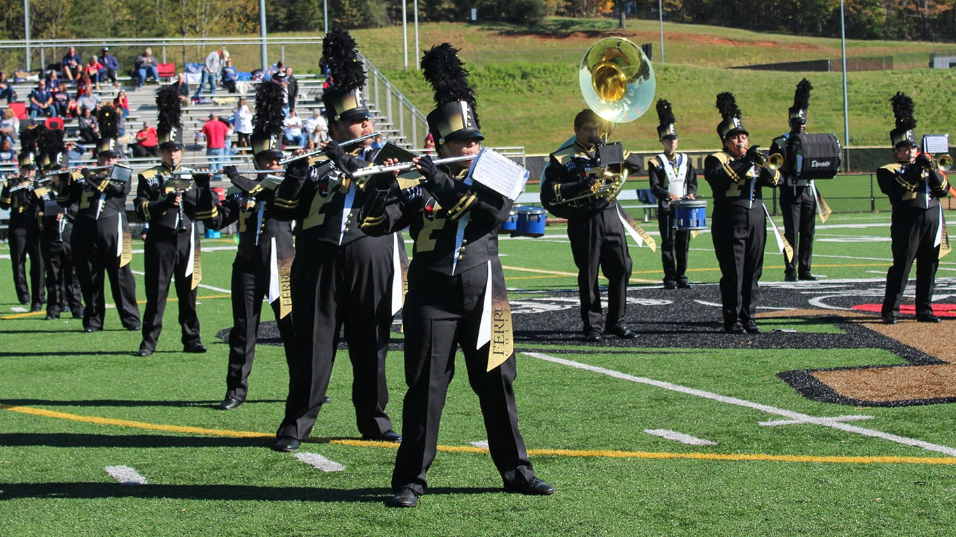 Ferrum College's marching band revealed their new uniforms during the Senior Day football game on November 2, 2019.