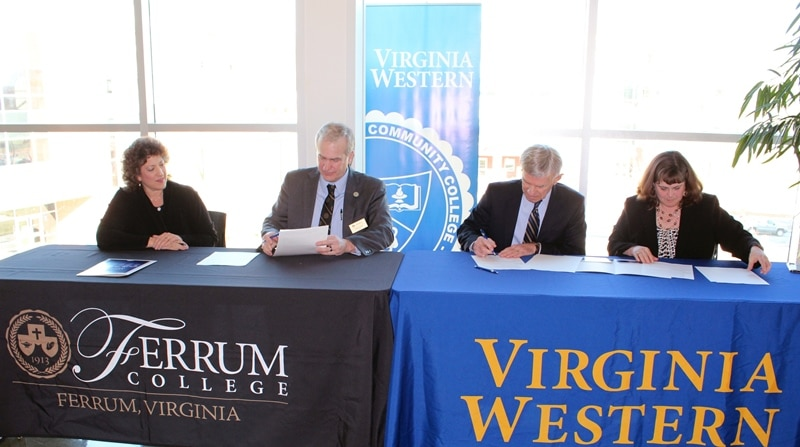 Above photo, from left to right: Ferrum College Provost and Vice President for Academic Affairs Aimé Sposato; Ferrum College President David Johns; Virginia Western President Robert Sandel; and Virginia Western Vice President of Academic and Student Affairs Elizabeth Wilmer.