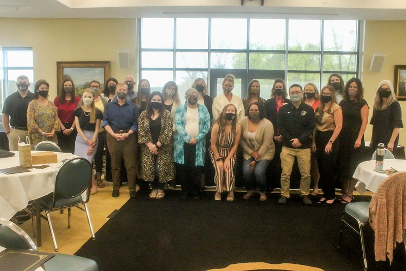 Students from the School of Health Professions and Social Sciences received academic awards in the Blue Ridge Mountain Room on April 16, 2021. Malcolm Lofton photo.