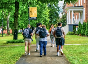 Students walking on Ferrum College campus. Brad Holley Photography.