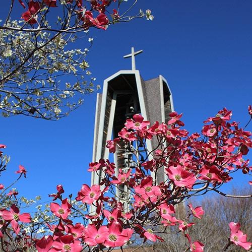 Ferrum College bell tower in spring