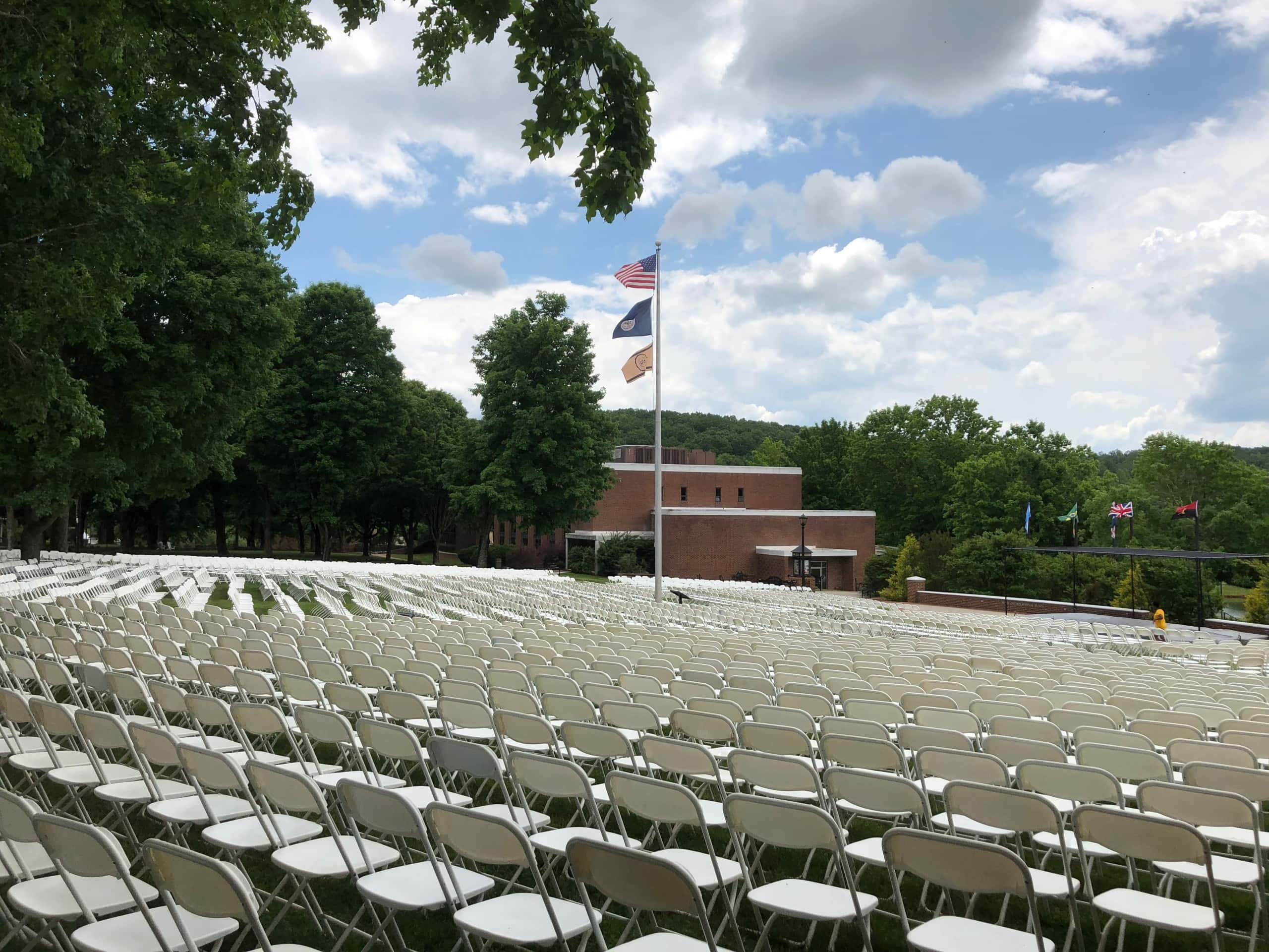 Commencement chairs at Hart Plaza